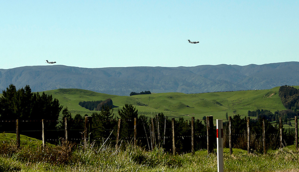 United States Airforce transport planes low level flying near Rangiwahia, northern Manawatu, New Zealand, Friday, November 06, 2015. Credit:SNPA / Malcolm Pullman