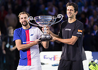 Tennis - 2017 Nitto ATP Finals at The O2 - Day Two<br /> <br /> Mens Doubles: Group Woodbridge/Woodforde: Lukasz Kubot (Poland) & Marcelo Melo (Brazil) Vs Ivan Dodig (Croatia) & Marcel Granollers (Spain)<br /> <br /> Marcelo Melo (Brazil)and Lukasz Kubot (Poland) show their World number one trophy at the O2 Arena<br /> <br /> COLORSPORT/DANIEL BEARHAM