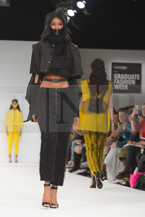 © Licensed to London News Pictures. 02/06/2015. London, UK. Collection by Bibiana P Colmeranes of Universidad Centro Mexico. Samsonite International Catwalk Competition takes place during Graduate Fashion Week 2015. Graduate Fashion Week takes place from 30 May to 2 June 2015 at the Old Truman Brewery, Brick Lane. Photo credit : Bettina Strenske/LNP