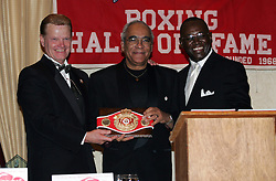 November 10, 2005 - Garfield, NJ - (L-R) NJ Boxing Hall of Fame President Henry Hascup, Inductee Dr. William Lathan, and NJ State Athletic Commissioner Larry Hazzard.