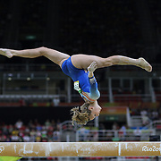 Gymnastics - Olympics: Day 2   Céline Van Gerner #368 of The Netherlands performing her routine on the Balance Beam during the Artistic Gymnastics Women's Team Qualification round at the Rio Olympic Arena on August 7, 2016 in Rio de Janeiro, Brazil. (Photo by Tim Clayton/Corbis via Getty Images)