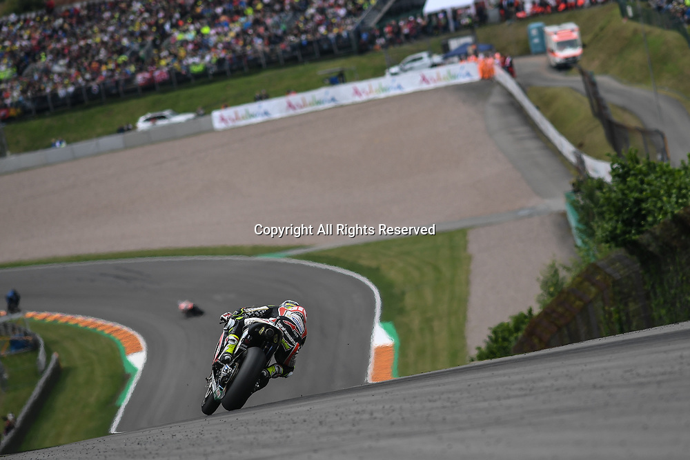 July 2nd 2017, Sachsenring Circuit, Oberlungwitz, Germany; MotoGP Grand Prix of Germany;  Cal Crutchlow (LCR Honda) accelerates downhill during the race