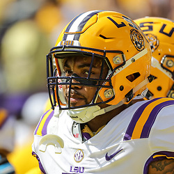 Oct 14, 2017; Baton Rouge, LA, USA; LSU Tigers running back Derrius Guice (5) before a game against the Auburn Tigers at Tiger Stadium. Mandatory Credit: Derick E. Hingle-USA TODAY Sports