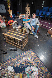 Ruaraidh Murray, Andy Gray and Grant Stott at the Gilded Balloon Rose Theatre, rehearse for their new play The Junkies.