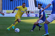 AFC Wimbledon defender & captain Barry Fuller (2) and Peterborough United midfielder Gwion Edwards (7) during the EFL Cup match between Peterborough United and AFC Wimbledon at ABAX Stadium, Peterborough, England on 9 August 2016. Photo by Stuart Butcher.