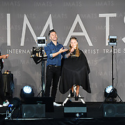 James Molloy of Mykitco and model Mairi Shaw demo at IMATS on 18 May 2019,  London, UK.