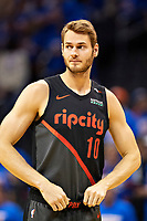 OKLAHOMA CITY, OK - APRIL 21: Jake Layman #10 of the Portland Trail Blazers during a game against the Oklahoma City Thunder during Round One Game Three of the 2019 NBA Playoffs on April 21, 2019 at Chesapeake Energy Arena in Oklahoma City, Oklahoma  NOTE TO USER: User expressly acknowledges and agrees that, by downloading and or using this photograph, User is consenting to the terms and conditions of the Getty Images License Agreement.  The Trail Blazers defeated the Thunder 111-98.  (Photo by Wesley Hitt/Getty Images) *** Local Caption *** Jake Layman