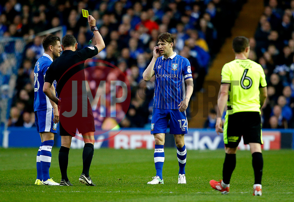 Glenn Loovens of Sheffield Wednesday receives a yellow card  - Mandatory by-line: Matt McNulty/JMP - 17/05/2017 - FOOTBALL - Hillsborough - Sheffield, England - Sheffield Wednesday v Huddersfield Town - Sky Bet Championship Play-off Semi-Final 2nd Leg