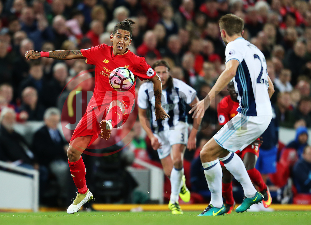 Roberto Firmino of Liverpool and Gareth McAuley of West Bromwich Albion - Mandatory by-line: Matt McNulty/JMP - 22/10/2016 - FOOTBALL - Anfield - Liverpool, England - Liverpool v West Bromwich Albion - Premier League