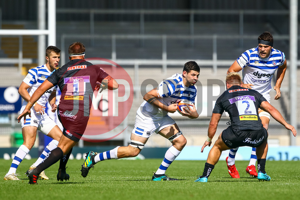Rhys Davies is marked by  Jack Innard  - Ryan Hiscott/JMP - 09/09/2018 - RUGBY - Sandy Park - Exeter, England - Exeter Braves v Bath United, Premiership Rugby Shield