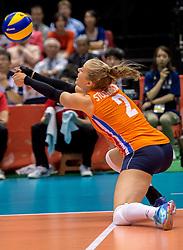 18-05-2016 JAP: OKT Nederland - Dominicaanse Republiek, Tokio<br /> Nederland is weer een stap dichterbij kwalificatie voor de Olympische Spelen. Dit dankzij een 3-0 overwinning op de Dominicaanse Republiek / Femke Stoltenborg #2