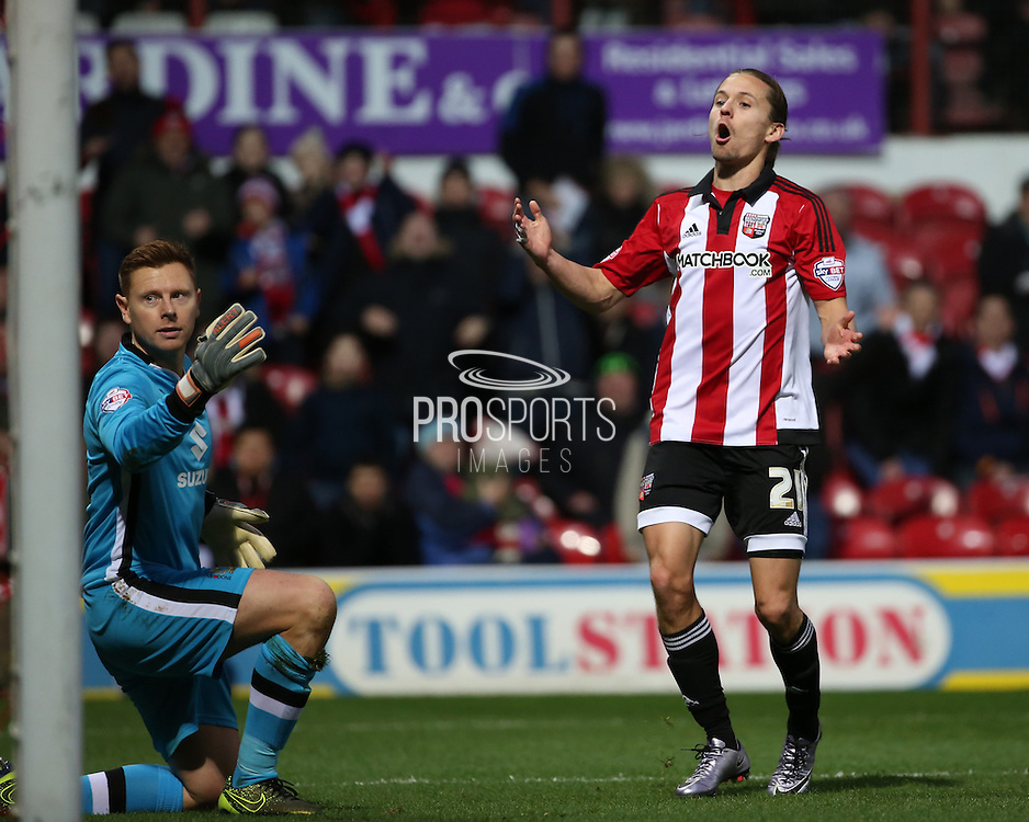Brentford striker Lasse Vibe just missing a golden chance during the Sky Bet Championship match between Brentford and Milton Keynes Dons at Griffin Park, London, England on 5 December 2015. Photo by Matthew Redman.