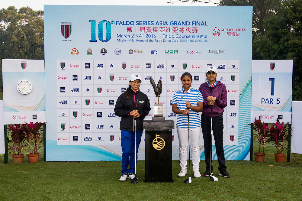 Amy Chu of Australia, Laia Barro of Phillipines and Diksha Dagar of India pose for a picture during day one of the 10th Faldo Series Asia Grand Final at Faldo course in Shenzhen, China. Photo by Xaume Olleros.