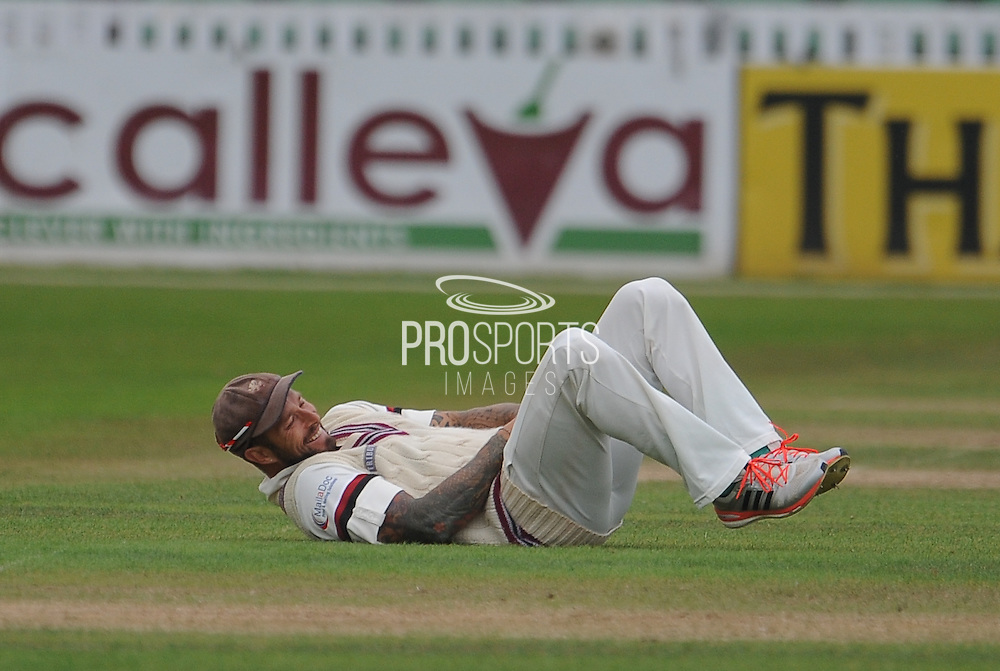 Peter Trego takes a blow during the LV County Championship Div 1 match between Somerset County Cricket Club and Hampshire County Cricket Club at the County Ground, Taunton, United Kingdom on 11 September 2015. Photo by David Vokes.