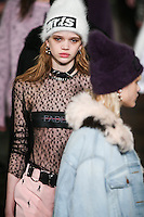 Stella Lucia walks the runway wearing Alexander Wang Fall 2016 during New York Fashion Week on February 13, 2016