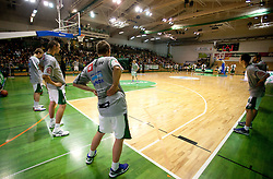 Team of Krka at warming up prior to the basketball match between KK Krka and Union Olimpija Ljubljana of Round 7th of ABA League 2011/2012, on November 12, 2011 in Arena Leon Stukelj, Novo mesto, Slovenia. (Photo By Vid Ponikvar / Sportida.com)