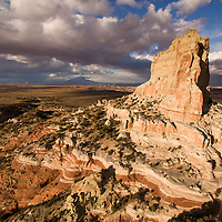 USA, Arizona, Kaibeto, Aerial view of Square Butte sandstone mesa in desert on stormy autumn evening