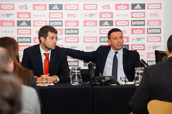Bristol City Football Managing Director Jon Lansdown and Manager Derek McInnes (SCO) face fans questions during the clubs Annual Supporters Meeting held in the AMC Communications Lounge - Photo mandatory by-line: Rogan Thomson/JMP - Tel: Mobile: 07966 386802 06/12/2012 - SPORT - FOOTBALL - Ashton Gate - Bristol - Club AGM.