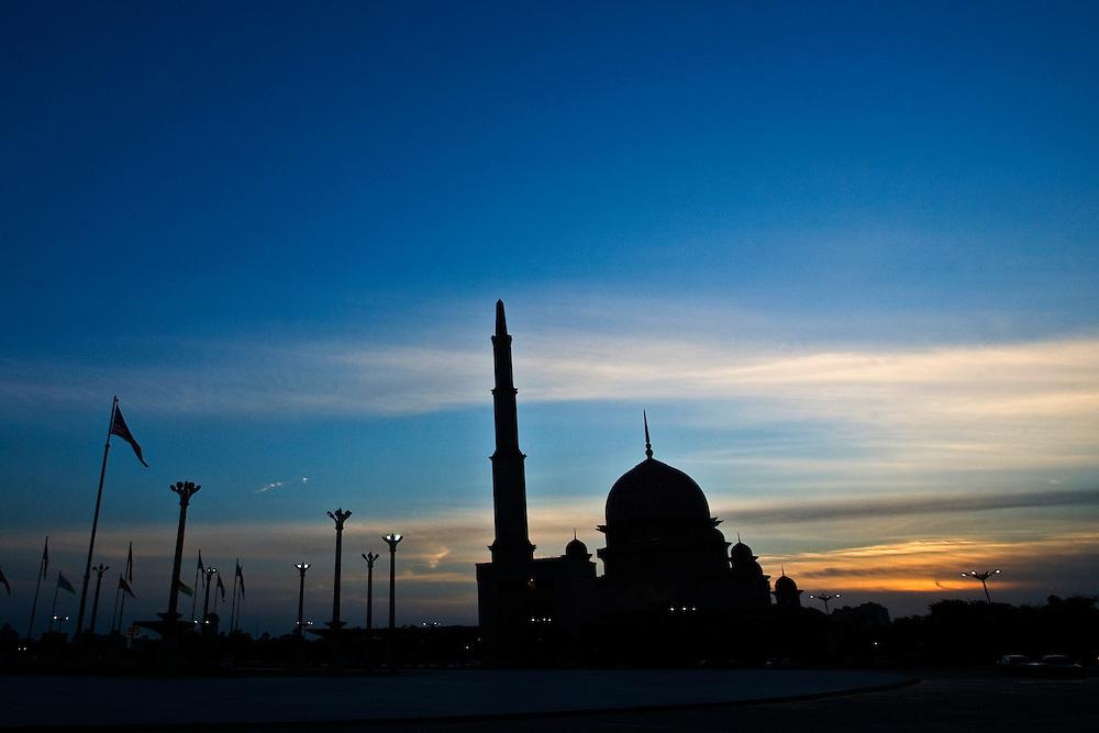 Putra Mosque at dusk, Putrajaya, Malaysia.