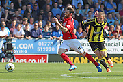 Romain Vincelot stretching for the ball from Burton's Stuart Beavon during the Sky Bet League 1 match between Burton Albion and Coventry City at the Pirelli Stadium, Burton upon Trent, England on 6 September 2015. Photo by Aaron Lupton.