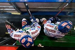 Kevin Mitchell (EC Rekord-Fenster VSV, #7) and Gerhard Unterluggauer (EC Rekord-Fenster VSV, #6) during ice-hockey match between HDD Tilia Olimpija and EC Rekord-Fenster VSV in 31st Round of EBEL league, on December 28, 2010 at Hala Tivoli, Ljubljana, Slovenia. (Photo By Matic Klansek Velej / Sportida.com)