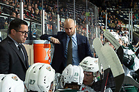 KELOWNA, BC - SEPTEMBER 28:  Everett Silvertips' assistant coach Louis Mass stands on the bench with head coach Dennis Williams against the Kelowna Rockets at Prospera Place on September 28, 2019 in Kelowna, Canada. (Photo by Marissa Baecker/Shoot the Breeze)