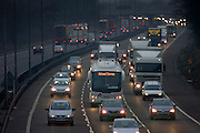 Southbound traffic on M1 Motorway in Northampton, United Kingdom.