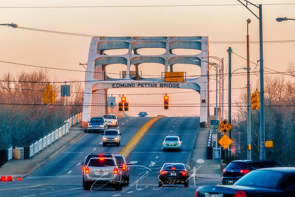 """Cars cross the Edmund Pettus Bridge, Feb. 14, 2015, in Selma, Alabama. The bridge was the site of """"Bloody Sunday,"""" where state troopers and local law enforcement attacked civil rights activists as they attempted to march from Selma to Montgomery, March 7, 1965. (Photo by Carmen K. Sisson/Cloudybright)"""