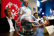 (l-R) Legia's trainer coach Jan Urban & Boguslaw Galazka - Director of Special Olympics Poland & Legia's Michal Zewlakow while official draw before Special Olympics's Football Tournament at Legia Stadium in Warsaw on May 22, 2013..The mission of Special Olympics is to provide sports training and athletic competition for children and adults with intellectual disabilities...Poland, Warsaw, May 22, 2013...Picture also available in RAW (NEF) or TIFF format on special request...For editorial use only. Any commercial or promotional use requires permission...Photo by © Adam Nurkiewicz / Mediasport