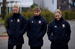 BOLOGNA, ITALY - Tuesday, January 22, 2019: Wales' L-R captain Sophie Ingle, Gemma Evans and Cori Williams during a pre-match walk at the team hotel in Bologna ahead of the International Friendly game against Italy. (Pic by David Rawcliffe/Propaganda)