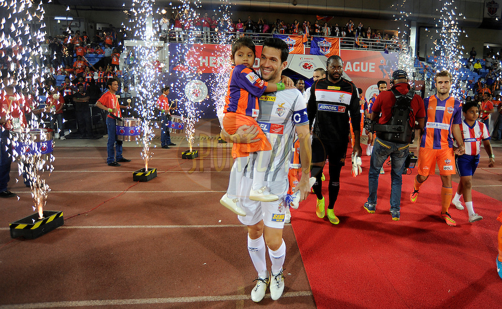 Luis Javier Garcia Sanz of Atletico de Kolkata walks in to the playing arena during the national anthem before the start of match 44 of the Hero Indian Super League between FC Pune City and Atletico de Kolkata FC held at the Shree Shiv Chhatrapati Sports Complex Stadium, Pune, India on the 29th November 2014.<br /> <br /> Photo by:  Pal Pillai/ ISL/ SPORTZPICS