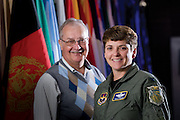 Col. Polly Padden and Dr. James A. Mowbray, are instructors at the Air War College on Maxwell-Gunter AFB. The patch on Colonel Padden?s flightsuit belonged to her father, who was in the class of 1974, and taught at the Air University. Dr. Mowbray first came to Maxwell as a boy when his father was stationed there in 1944. ?I grew up here playing on B-29 bombers.? He started teaching in 1984, and has been with the AWC schoolhouse for 24 years. (U.S. Air Force photo/ Lance Cheung)