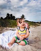 Lucas enjoying the beach.