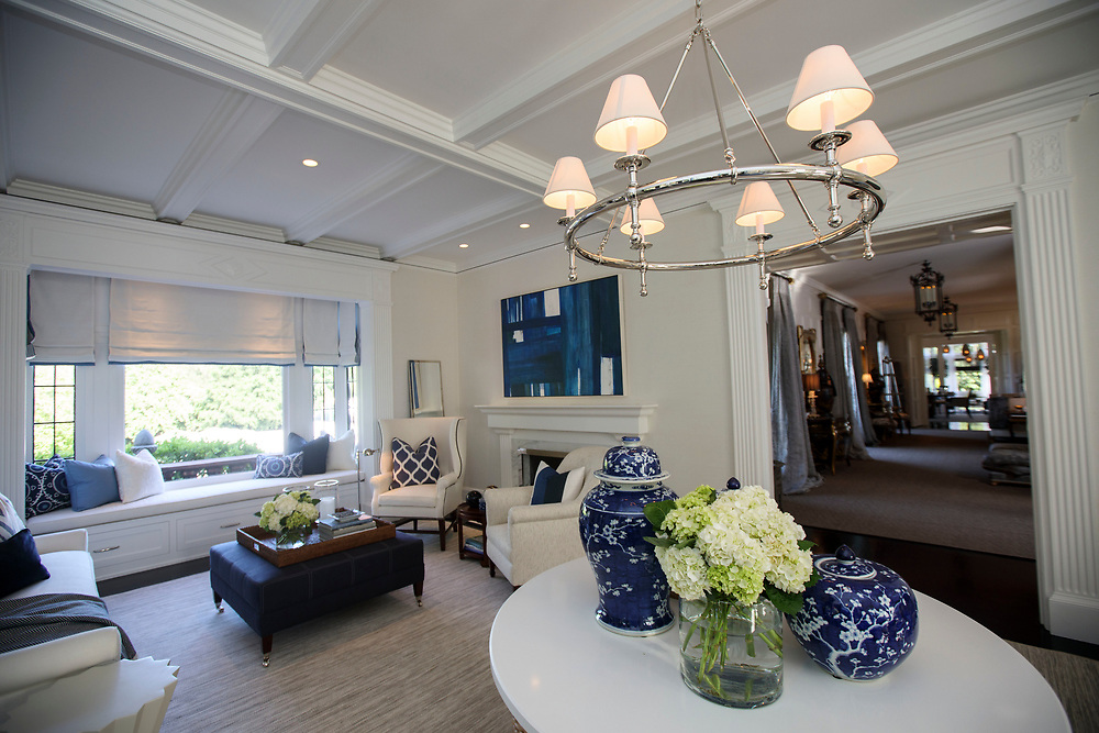 A downstairs room with Navy accents after renovations inside the Pasadena Showcase House of Design on Wednesday, April 12, 2017 in Pasadena, Calif. The 1916 English estate home was updated for modern living by interior and landscape designers. © 2017 Patrick T. Fallon