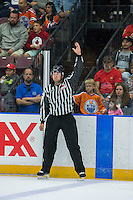 PENTICTON, CANADA - SEPTEMBER 17: An ice official makes a call on September 17, 2016 at the South Okanagan Event Centre in Penticton, British Columbia, Canada.  (Photo by Marissa Baecker/Shoot the Breeze)  *** Local Caption ***