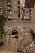 Egypt. Cairo - bab El TOWFIQ gate Salah al-Din Ayubi walls , rediscovered under the rubble. In islamic cairo     +