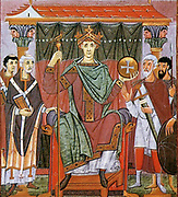 Painting showing the peoples of the world adoring Otto III, from the Gospels of Otto III. (View Larger) The Gospels of Otto III, probably produced in Reichenau Abbey, in the scriptorium headed by the monk Liuthard, for Holy Roman Emperor Otto III, Circa 998 – 1001. Otto is shown seated disdainfully on his majestic throne, flanked by two priests with books