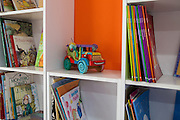 Childrens books on the shelves in the community library, Biblioteca Comunitaria do Arquipelago, Porte Alegre, Brazil. <br /> <br /> Cirandar is working in partnership with  C&A and C&A Instituto to implement a network of Community Libraries in eight communities of Porto Alegre.