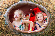 Henham Park, Suffolk, 21 July 2019. Children love a moss egg in teh solas area. The 2019 Latitude Festival.