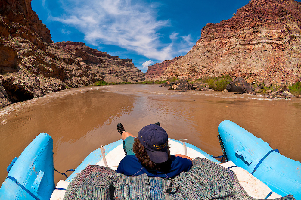 """Rafting into """"the Center of the Universe"""" at the confluence of the Colorado and Green Rivers, Utah, USA"""