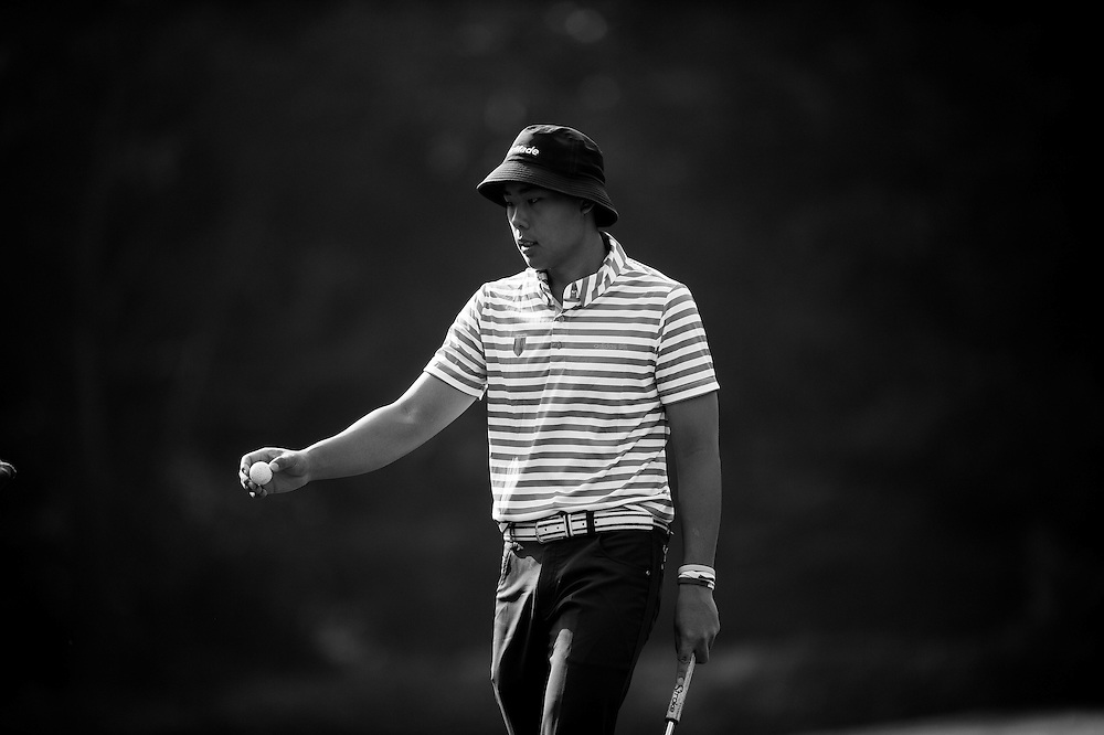 Hui Yong Sherng of Malaysia in action during day two of the 10th Faldo Series Asia Grand Final at Faldo course on 03 March of 2016 in Shenzhen, China. Photo by Xaume Olleros.