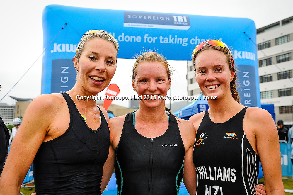 The first 3 women over the line at the finish line of the Sovereign Tri Series, Waterfront, Wellington, New Zealand. Saturday 14 March 2015. Copyright Photo: Mark Tantrum/www.Photosport.co.nz