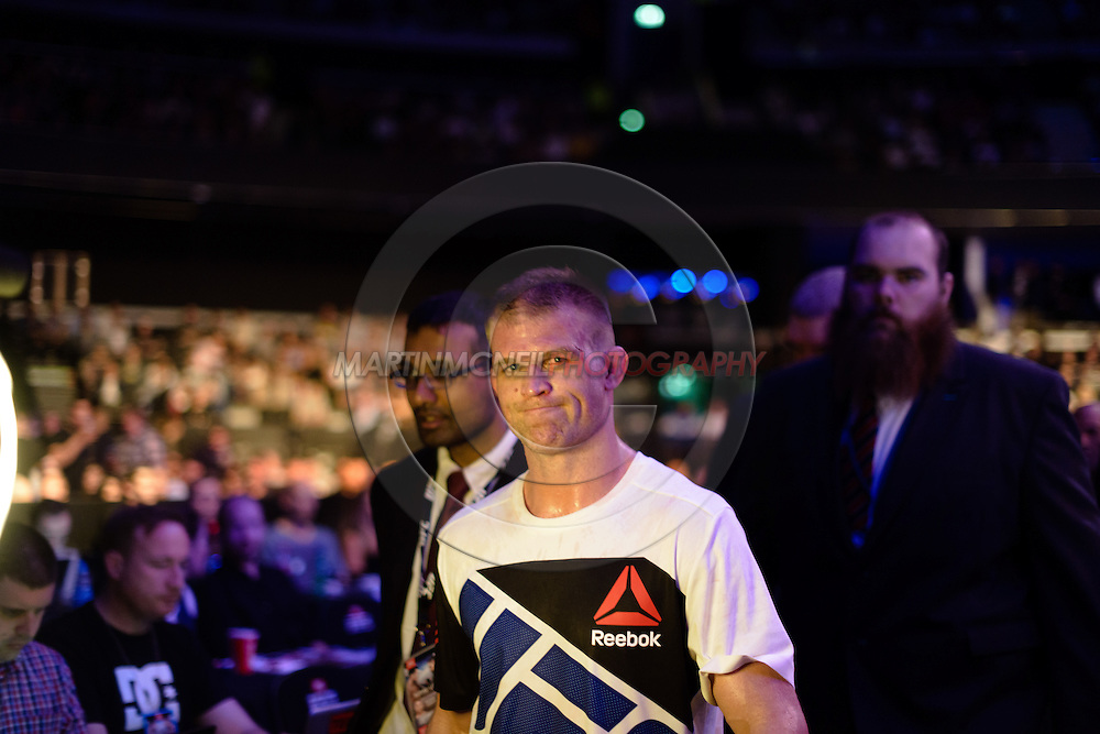 """GLASGOW, SCOTLAND, JULY 18, 2015: Evan Dunham exits the arena during """"UFC Fight Night 72: Bisping vs. Leites"""" inside the SSE Hydro Arena in Glasgow, Scotland (Martin McNeil for ESPN)"""