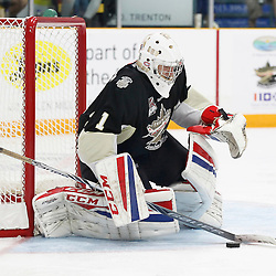 TRENTON, ON - SEP 8:  Chris Janzen #1 of the Trenton Golden Hawks makes the save in the second period during the OJHL regular season game between the Newmarket Hurricanes and Trenton Golden Hawks on September 8, 2016 in Trenton, Ontario. (Photo by Amy Deroche/OJHL Images)