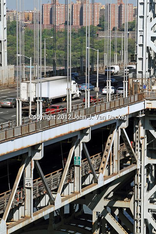 Traffic headed into New York City on the GW Bridge. George Washington Bridge as seen from Fort Lee, New Jersey, USA