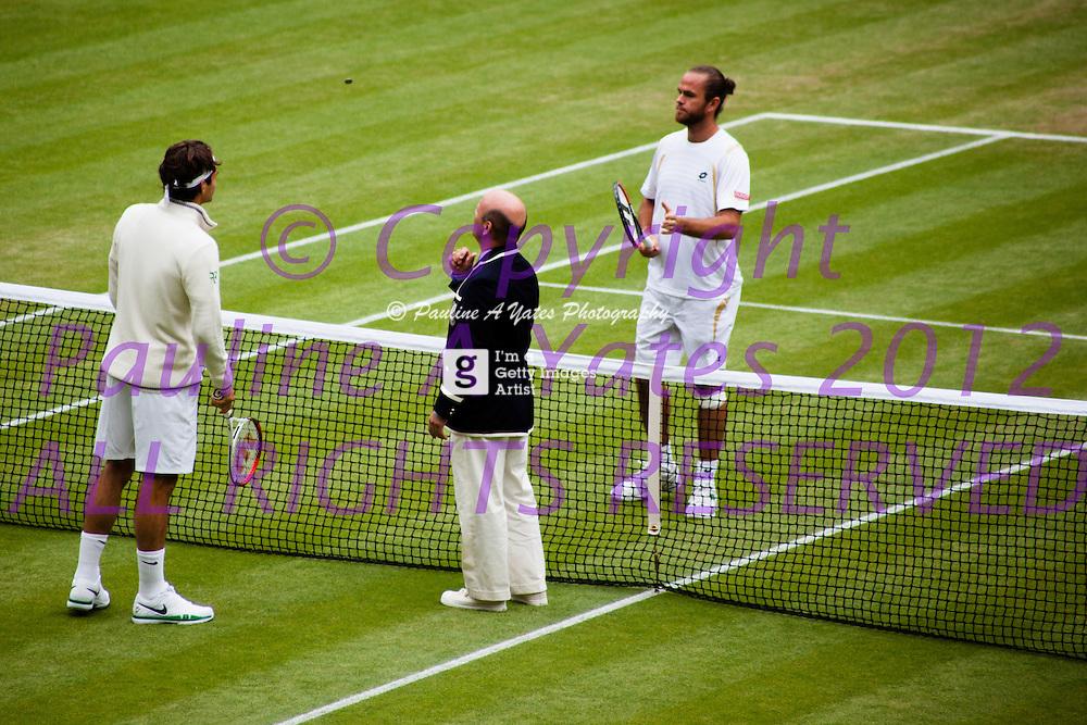 Opening of the Roger Federer v. Xavier Malisse match - Wimbledon 2012, Day 7, Last 16.