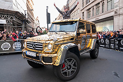 © Licensed to London News Pictures. 02/05/2016. London, UK. Large crowds come to Regent Street to see the arrivals of supercars in the Gumball 3000 race.  Supercars race from Dublin to Bucharest, stopping at major cities en route including London. Photo credit : Stephen Chung/LNP