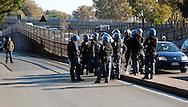 Roma 28 Novembre 2011.Inaugurata la nuova Stazione Tiburtina dell'alta velocità..La polizia in tenuta antisomossa controlla la zona della Stazione Tiburtina..