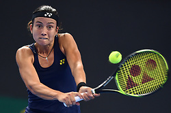 BEIJING, Sept. 30, 2017  Anastasija Sevastova of Latvia returns a shot during the women's singles first round match against Maria Sharapova of Russia at 2017 China Open in Bejing, capital of China, Sept. 30, 2017. Maria Sharapova won 2-1. (Credit Image: © Ju Huanzong/Xinhua via ZUMA Wire)