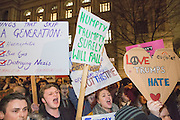 Demonstrators gather outside Downing Street on Monday the 30th of January to protest against the recent announcement by American President Donald Trump to ban people from seven Muslim-majority countries from entering the US. Downing Street, London. 30th January 2017<br /> (photo by Andrew Aitchison / In pictures via Getty Images)